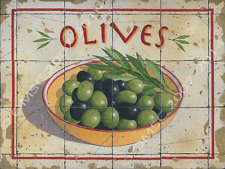 Olives Metal Sign, Rustic Italian Country Kitchen Decor, Vintage Pottery on Tile