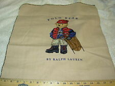 """~18x18 INCHES~RALPH LAUREN~""""POLO BEAR""""SLEAD~COTTON PILLOW PANEL FABRIC FOR LESS~"""
