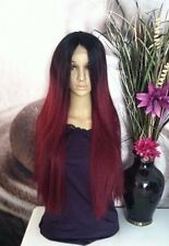 Ombre black roots with highlights and 2 shades of red human hair blend lace wig