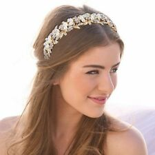 Gold Bridal Wedding Tiara, Crystal Ivory Pearls, Ribbon With Tiara Box