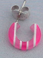 SINGLE STERLING SILVER 10mm.OPEN HOOP PINK &WHITE STRIPED RESIN EARRING £2.95nwt