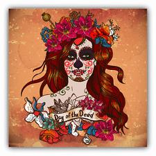 "Sugar Woman Flower Skull Day Of The Dead Car Bumper Sticker Decal 5"" x 5"""