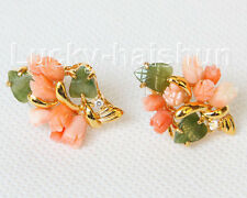 AAA natural carved 25X18mm pink coral green jade Earrings j10817A200