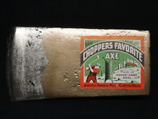 Vintage Axe Ax Head CHOPPERS FAVORITE Jaquith Handle Mill Clinton Maine ME Label