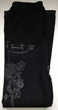 Maternity Clothes Dark Jean Petite with Flower Stitch Small Pregnancy Pants