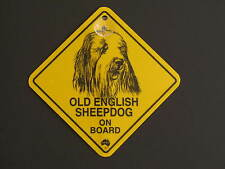 Old English Sheepdog On Board Dog Breed Yellow Car Swing Sign Gift