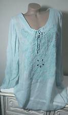 NWT Johnny Was Vomera Embroidered Tie-neck Tunic Top Blouse Sky Sz XXL 1X