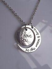 """Silver """"te amo a la Luna & Back (2 Piezas Luna Y Sol Colgante Collar"""