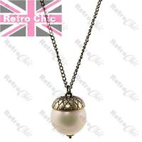 """QUIRKY ACORN PENDANT big 22mm pearl 33""""LONG NECKLACE vintage brass finish RETRO"""