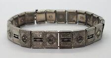 Vintage Antique Sterling Silver 925 Christal Rhinestone Detailed Bracelet