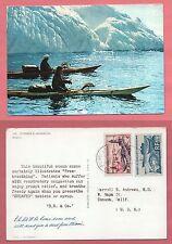 1960 ST PIERRE & MIQUELON MULTI FRANKED POSTCARD TO USA