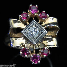 Retro 14k Rose Gold Diamond Rubies Cocktail Ring Vintage Mid Century Estate