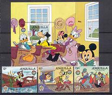 Walt Disney, Twain - Anguilla - 3 Werte, 1 Bl. ** MNH Teilsatz 1985