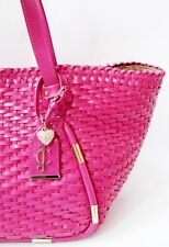 JUICY COUTURE PINK WOVEN LEATHER TOTE SHOULDER LARGE BAG
