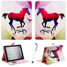 Red Horse Smart Leather Wallet Card Stand Case Cover For Apple iPad Mini 1 /2 /3