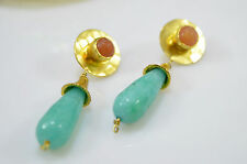 OttomanGems semi precious gem stonegold plated earrings Jade Turkish handmade