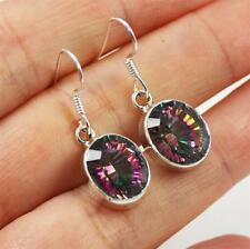 Stunning 925 Sterling Silver, Cut Mystic Topaz Dangle Earrings jewellery