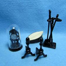 Dollhouse Miniature Fireplace Tool Set with Clock and Bellows ~ IM66234