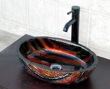 Bathroom Artistic Glass Vessel Vanity Sink Oil Rubbed Bronze Faucet 9001E3