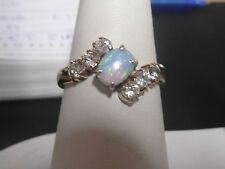 130J - 9K Gold Ring with Opal and Zirconias Size P 1/2