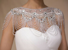 2016 New White Lace Wedding Bridal Cystal Shawl Wrap Cape Shrug Bolero Jacket