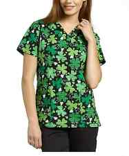 White Cross Medical Uniform Top V-Neck Printed Lucky Shamrocks (SMALL)