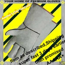 Rotisserie Gray Premium LEATHER Firewood BBQ Grill Kevlar Cowhide Work Gloves