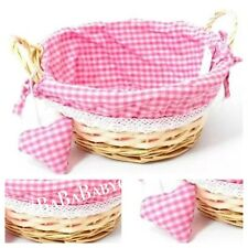 PINK Gingham Wicker Basket With Padded Heart Baby Shower Hampers Gifts Keepsakes