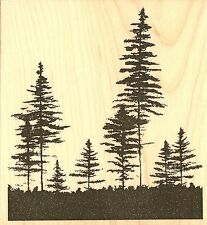 PINE TREES Wood Mounted Rubber Stamp Impression Obsession F7787 NEW