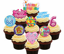 6th Birthday Boy & Girl Edible Cup Cake Toppers, 36 Standup Fairy Decorations
