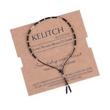 KELITCH Friendship Bracelet Black Seed Beads Bangle Handmade Cuff  Cotton Chain