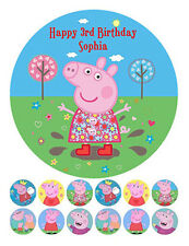 PEPPA PIG PERSONALISED EDIBLE ICING CAKE IMAGE FREE 12 CUPCAKE CUP CAKE TOPPERS