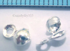 10 x BRIGHT STERLING SILVER CLAMSHELL BEAD TIPS  3.5mm #646