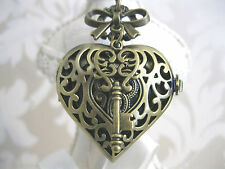 "New ""KEY TO MY HEART"" Steampunk Vintage Bronze Heart Bow Pocket Watch Necklace"