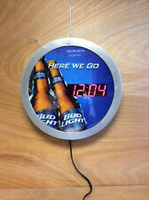 "Bud Light ""Here We Go"" Wall Clock LED 16'' Authentic Bud Light ~ NEW Old Stock"