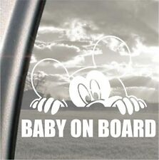 Mickey mouse Baby on Board peeking bumper, car, window, ipad or laptop sticker