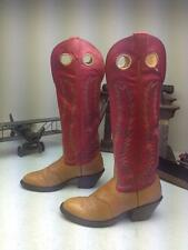 VINTAGE NOCONA BROWN RED LEATHER WESTERN COWBOY BUCKAROO DANCE BOOTS SIZE 6 B