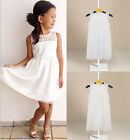 Kids Girls White Princess Flower Tutu Dress Party Formal Lace Skirt For 2-11Y
