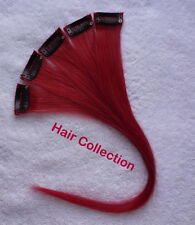 """12""""Red - Human Hair Clip on in Extensions for Highlight"""