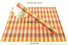 4 Handmade Bamboo Wood Placemats Table Mats, New Collection, Red-Cream P089