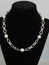 "Ralph Lauren Silvertone Oval Link 10mm Faux Pearl 16""  Necklace $78"
