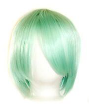 11'' Short Straight Cut with Long Bangs Mint Green Cosplay Wig NEW