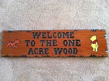 WELCOME TO THE ONE ACRE WOOD Winnie The Pooh Home Bedroom Sign Decoration Baby
