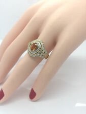 Ladies 14K Yellow Gold 60+ Diamond 2.25 CT Citrine Filigree Antique Repro Ring