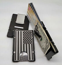 United States American Flag Aluminum Wallet/Card Holder RFID Protection, Black