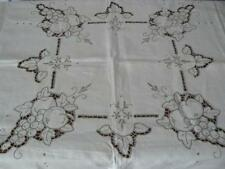 Vintage MADEIRA LINEN Tablecloth +Napkins GRAPES PATTERN Cutwork Hand Embroidery
