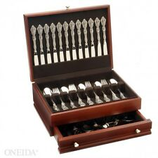 Oneida Michelangelo 66 Piece 18/10 Stainless Flatware Set With Mahogany Chest