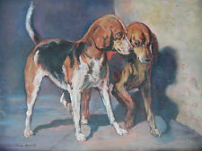Oil Portrait Two Dogs, Foxhounds. Simon Mouncey