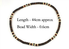 Brown Cream Coconut Beaded Necklace Beach Surf Natural Mens Womens Tribal Funky