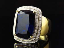 Men's Yellow Gold Finish Blue Sapphire and Genuine Diamond Statement Ring .50Ct